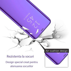 Husa iPhone Xs Max Clear View Flip Standing Cover (Oglinda) Mov (Purple)1