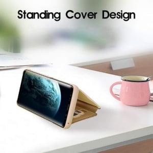 Husa iPhone Xr / iPhone 9 Clear View Flip Standing Cover (Oglinda) Auriu (Gold)