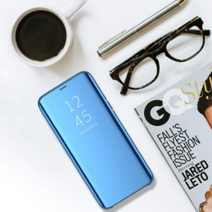 Husa iPhone Xr / iPhone 9 Clear View Flip Standing Cover (Oglinda) Albastru (Blue)4