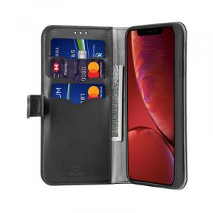 Husa Flip iPhone XR Negru Piele Ecologica Tip Carte Kado1