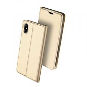 Husa iPhone Xs Max 2018 Toc Flip Tip Carte Portofel Auriu Gold Piele Eco Premium DuxDucis [0]