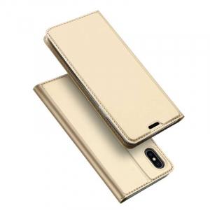 Husa iPhone Xs Max 2018 Toc Flip Tip Carte Portofel Auriu Gold Piele Eco Premium DuxDucis [4]
