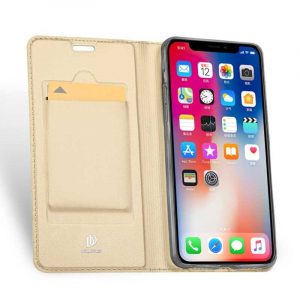 Husa iPhone Xs Max 2018 Toc Flip Tip Carte Portofel Auriu Gold Piele Eco Premium DuxDucis [1]