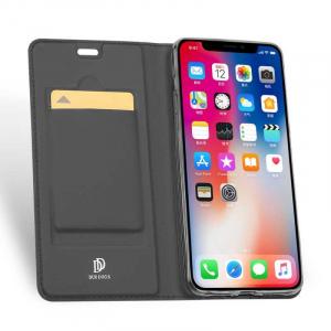 Husa iPhone Xs Max 2018 Toc Flip Tip Carte Portofel Negru Piele Eco Premium DuxDucis [1]