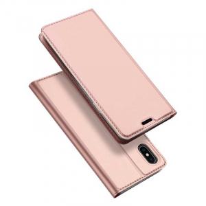 Husa iPhone Xs Max 2018 Toc Flip Tip Carte Portofel Roz Piele Eco Premium DuxDucis [4]