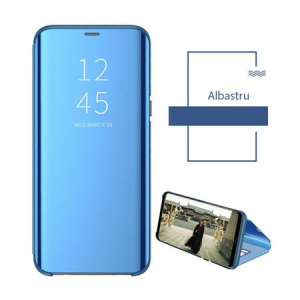 Husa iPhone Xs Max Clear View Flip Standing Cover (Oglinda) Albastru (Blue)2