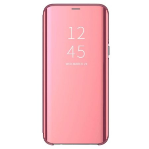 Husa iPhone Xs Max Clear View Flip Standing Cover (Oglinda) Roz (Rose Gold)0