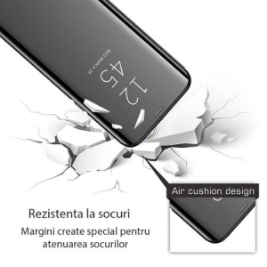 Husa iPhone Xs Max Clear View Flip Standing Cover (Oglinda) Negru (Black)2