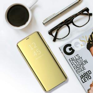 Husa iPhone Xs Max Clear View Flip Standing Cover (Oglinda) Auriu (Gold)3