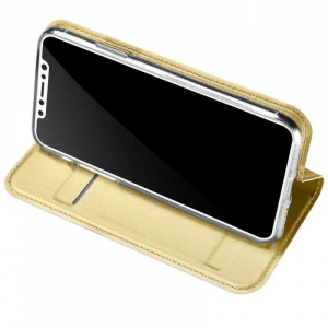 Husa iPhone XS Toc Flip Tip Carte Portofel Auriu Gold Piele Eco Premium DuxDucis2