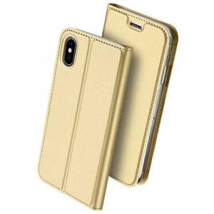 Husa iPhone XS Toc Flip Tip Carte Portofel Auriu Gold Piele Eco Premium DuxDucis0