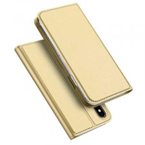Husa iPhone XS Toc Flip Tip Carte Portofel Auriu Gold Piele Eco Premium DuxDucis4
