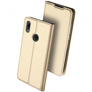 Husa Portofel Huawei Y7 2019 Piele Eco Premium  DuxDucis - Auriu Gold0