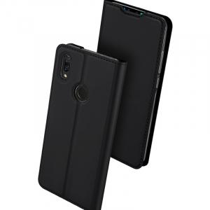 Husa Flip Portofel Huawei Y7 2019 Tip Carte Negru Skin DuxDucis0
