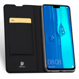 Husa Flip Portofel Huawei Y7 2019 Tip Carte Negru Skin DuxDucis4