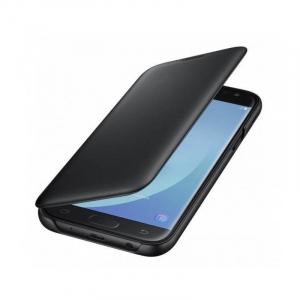 Husa iPhone 7 / iPhone 8 Tip Carte Flip Cover din Piele Ecologica  Neagra Portofel cu Inchidere Magnetica (Black)