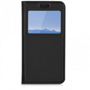 Husa Samsung A6 Plus 2018 Neagra Portofel cu Fereastra Carte Flip Book cu Inchidere Magnetica0