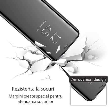 Husa Flip Mirror Samsung Galaxy A01 2020 Negru Clear View Oglinda1