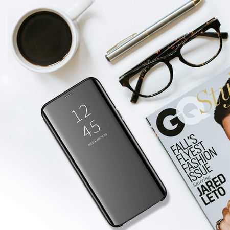 Husa Flip Mirror Samsung Galaxy A01 2020 Negru Clear View Oglinda3