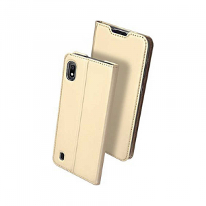 Husa Samsung Galaxy A10 2019 Auriu Piele Eco Toc Tip Carte Portofel Premium DuxDucis0