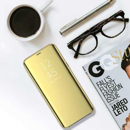 Husa Flip Mirror Samsung Galaxy A10 Auriu Gold Clear View Oglinda4