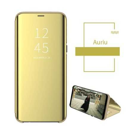 Husa Flip Mirror Samsung Galaxy A10 Auriu Gold Clear View Oglinda2