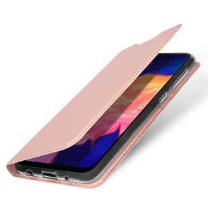 Husa Samsung Galaxy A20E 2019 Roz Piele Eco Toc Tip Carte Portofel Premium DuxDucis1