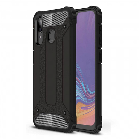 Husa Samsung Galaxy A20e Silicon Antisoc Negru Hybrid Armor [0]