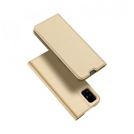Husa Samsung Galaxy A21s 2020 Toc Flip Tip Carte Portofel Auriu Gold Piele Eco Premium DuxDucis4