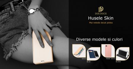 Husa Samsung Galaxy A21s 2020 Toc Flip Tip Carte Portofel Auriu Gold Piele Eco Premium DuxDucis5