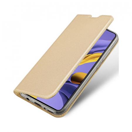 Husa Samsung Galaxy A21s 2020 Toc Flip Tip Carte Portofel Auriu Gold Piele Eco Premium DuxDucis3