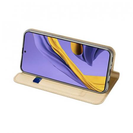 Husa Samsung Galaxy A21s 2020 Toc Flip Tip Carte Portofel Auriu Gold Piele Eco Premium DuxDucis2