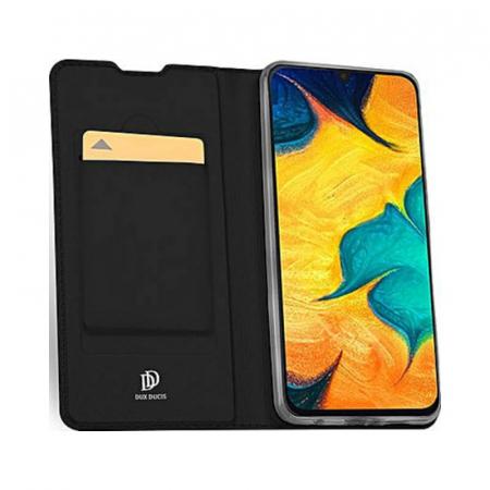 Husa Samsung Galaxy A21s 2020 Toc Flip Tip Carte Portofel Negru Piele Eco Premium DuxDucis [1]