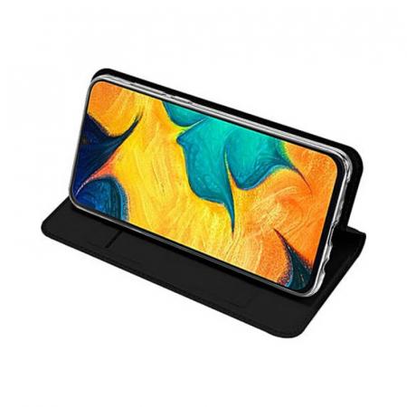 Husa Samsung Galaxy A21s 2020 Toc Flip Tip Carte Portofel Negru Piele Eco Premium DuxDucis [2]