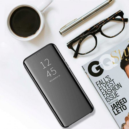 Husa Samsung Galaxy A21s Clear View Flip Toc Portofel Standing Cover (Oglinda) Negru [3]