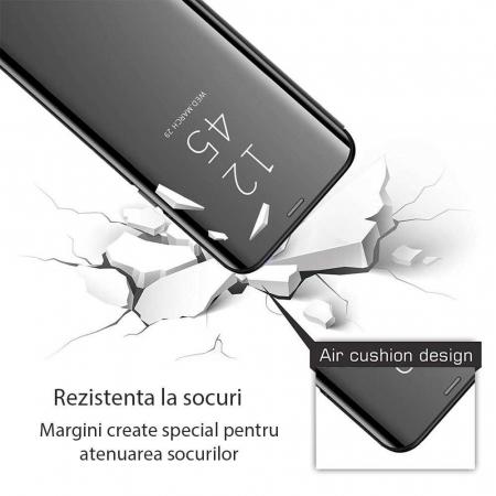 Husa Samsung Galaxy A21s Clear View Flip Toc Portofel Standing Cover (Oglinda) Negru [1]