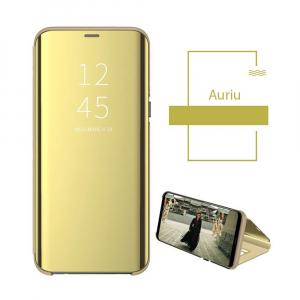 Husa Flip Mirror Samsung Galaxy A30 2019 Gold Auriu Clear View Oglinda1