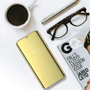 Husa Flip Mirror Samsung Galaxy A30 2019 Gold Auriu Clear View Oglinda3