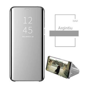Husa Samsung Galaxy A40 2019 Clear View Argintiu Flip Standing Cover ( Oglinda ) Silver1