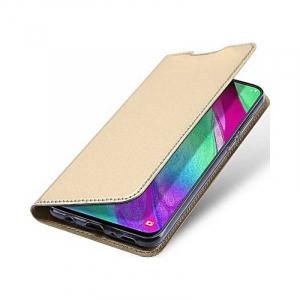 Husa Flip Samsung Galaxy A40 Gold Tip Carte Auriu Skin DuxDucis4