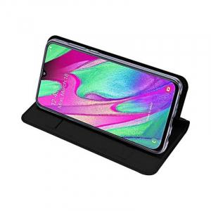 Husa Flip Samsung Galaxy A40 Tip Carte Negru Skin DuxDucis3