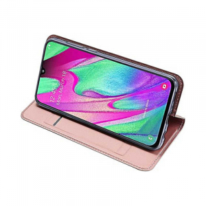 Husa Samsung Galaxy A40 2019 Roz Toc Piele Eco Premium DuxDucis Portofel Flip Cover Magnetic [3]