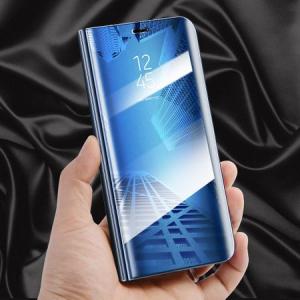 Husa Samsung Galaxy A5 / A8 2018 Clear View Flip Toc Carte Standing Cover Oglinda Albastru (Blue)3