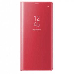 Husa Samsung Galaxy A5 / A8 2018 Clear View Flip Toc Carte Standing Cover Oglinda Roz Rose Gold0