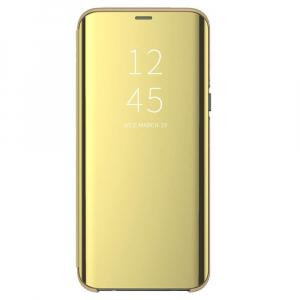 Husa Flip Mirror Samsung Galaxy A50 2019 Gold Auriu Clear View Oglinda0
