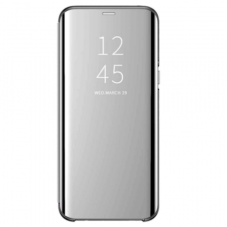 Husa Flip Mirror Samsung Galaxy A51 2019 Argintiu Clear View Oglinda0