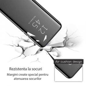 Husa Flip Mirror Samsung Galaxy A6 Plus 2018 Negru Clear View Oglinda2
