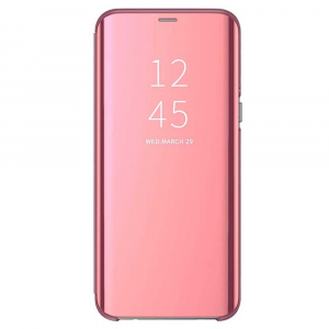 Husa Samsung Galaxy A6 Plus (2018) Clear View Flip Toc Carte Standing Cover Oglinda Roz Rose Gold0