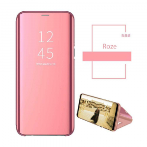 Husa Samsung Galaxy A6 Plus (2018) Clear View Flip Toc Carte Standing Cover Oglinda Roz Rose Gold1