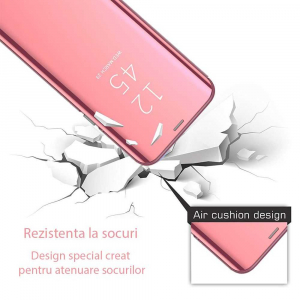 Husa Samsung Galaxy A6 Plus (2018) Clear View Flip Toc Carte Standing Cover Oglinda Roz Rose Gold2
